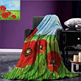Poppy summer blanket Sunny Day is Upon the Green Hills of the Country Red Summer Blossoms Growth Flannel Red Pale Blue Green size:59''x35.5''