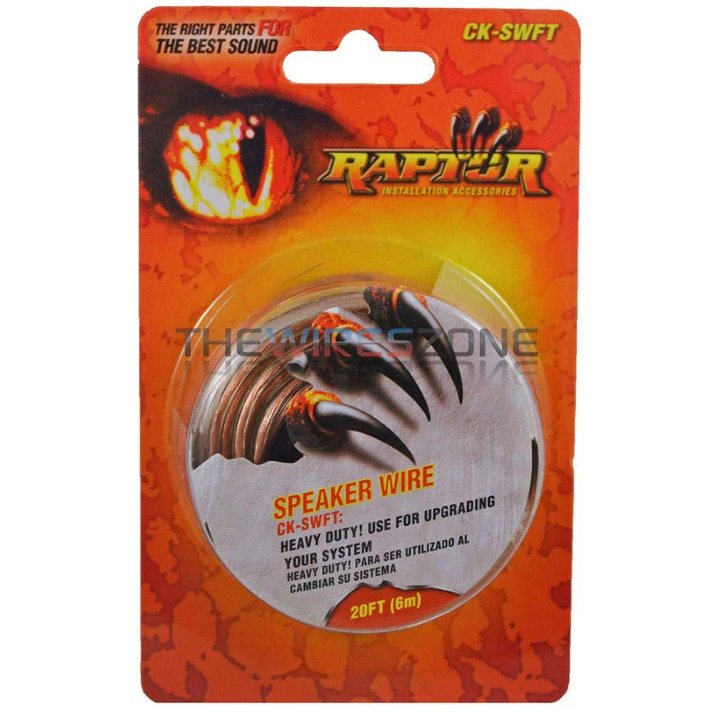 Raptor CK-SWFT Transparent 18 Gauge 18/2 20ft Speaker Wire Car Audio(5 Pack)