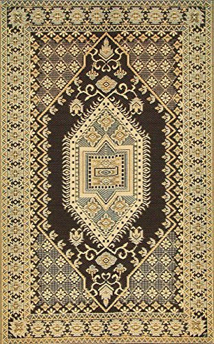 Mad Mats Oriental Turkish Indoor/Outdoor Floor Mat, 6 by 9-Feet, Brown and - Plastic Black Materials Recycled