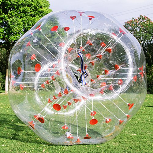 LOVSHARE 4FT Inflatable Bumper PVC Bubble Soccer Ball Dia 4FT 1.2M Zorbing Giant Human Hamster Ball for Adults or Child (4FT Red Dot)