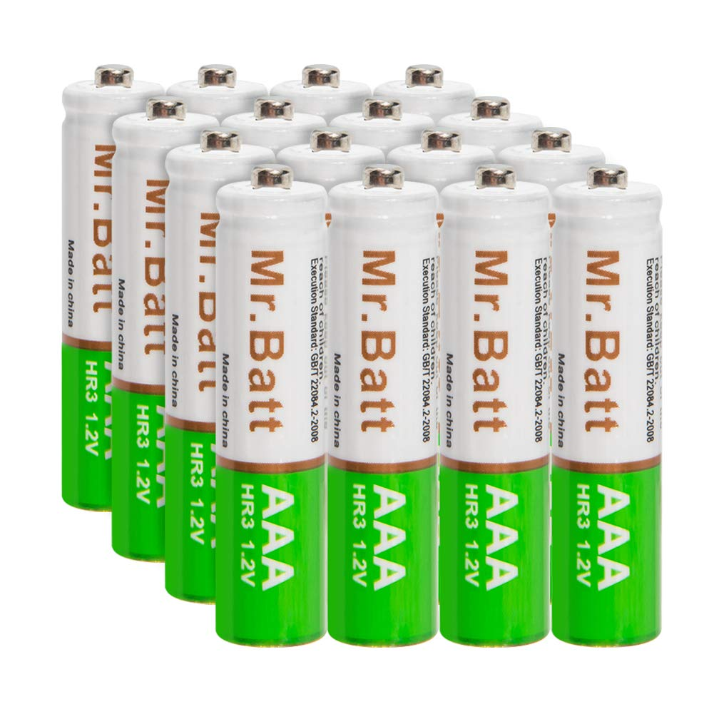AAA Rechargeable Batteries, Mr.Batt Pre-Charged NiMH AAA Batteries, 700mAh (16 Pack) by Mr.Batt