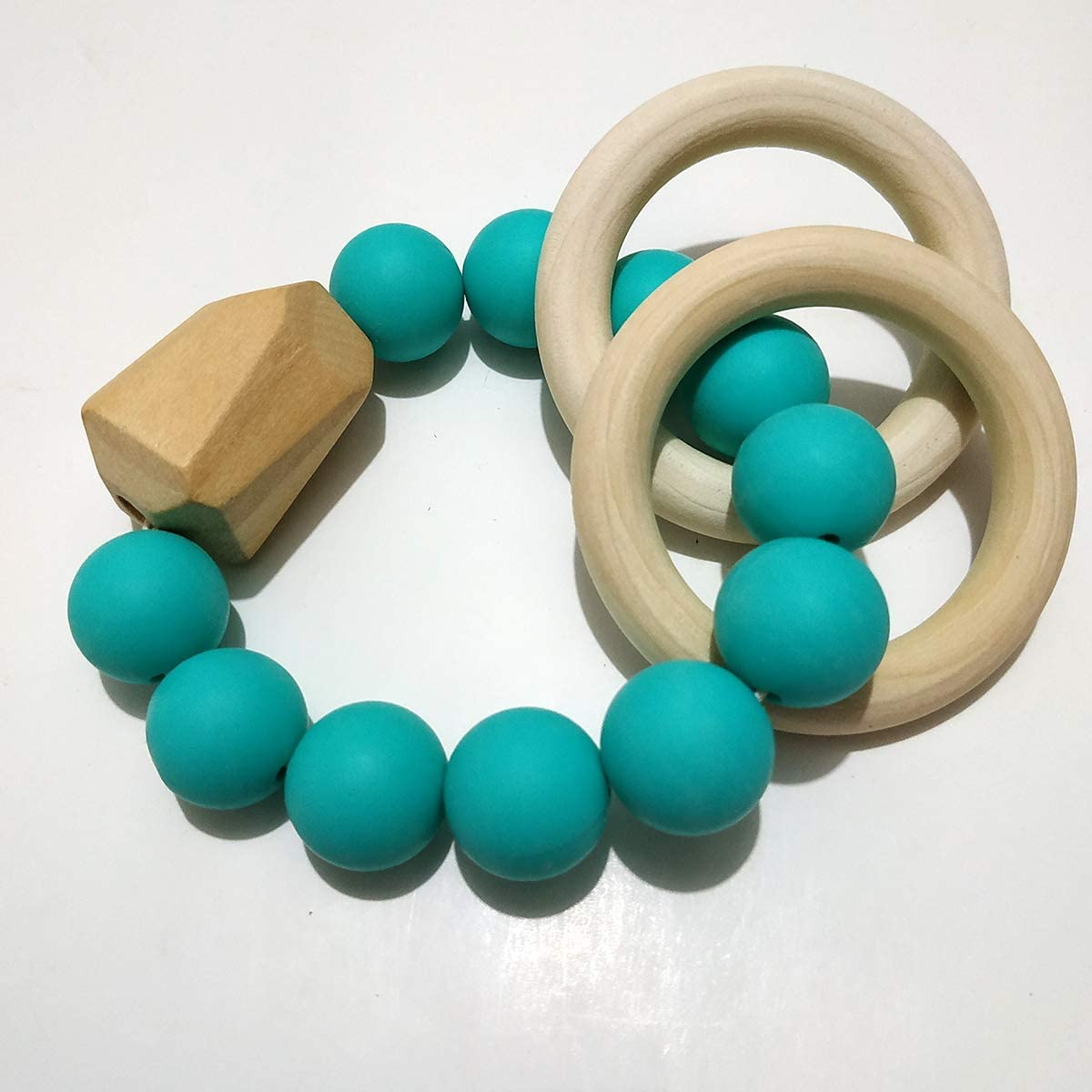 Alenybeby Natural Wooden Beads Silicone Beads Bracelet Baby Tooth Nursing Toys Baby Shower Toys Gift Army green-01