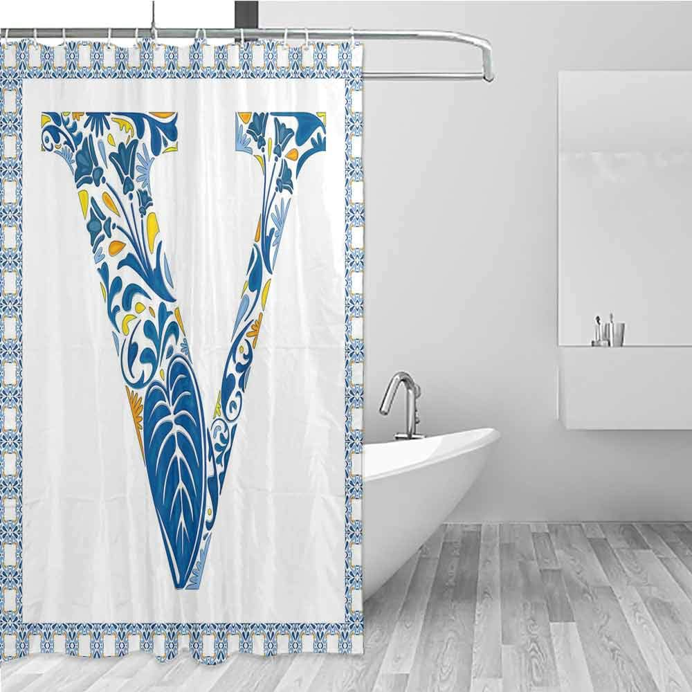 BE.SUN Long Shower Curtain,Letter V,goof Proof Shower,W108x72L Blue Yellow Orange by BE.SUN