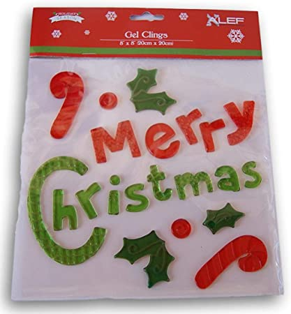 amazon com christmas winter gel window clings merry christmas lettering 22 piece toys games amazon com