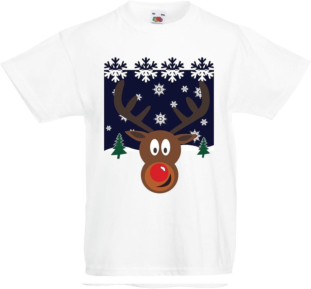 Niños Camiseta Divertida Escena de Navidad Rudolph: Amazon.es: Ropa y accesorios