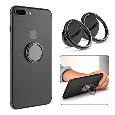 Phone Ring Holder, ICHECKEY Finger Ring Stand 360°Rotation Metal Phone Ring Grip Kickstand Compatible with All Smartphone, iPad, Tablet - Glossy Black