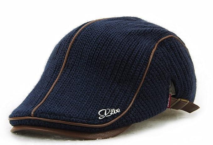 9f9e9b13aae MOTINE Men s Knitted Wool Driving Duckbill Hat Warm Newsboy Flat Scally Cap(Deep  Blue02)