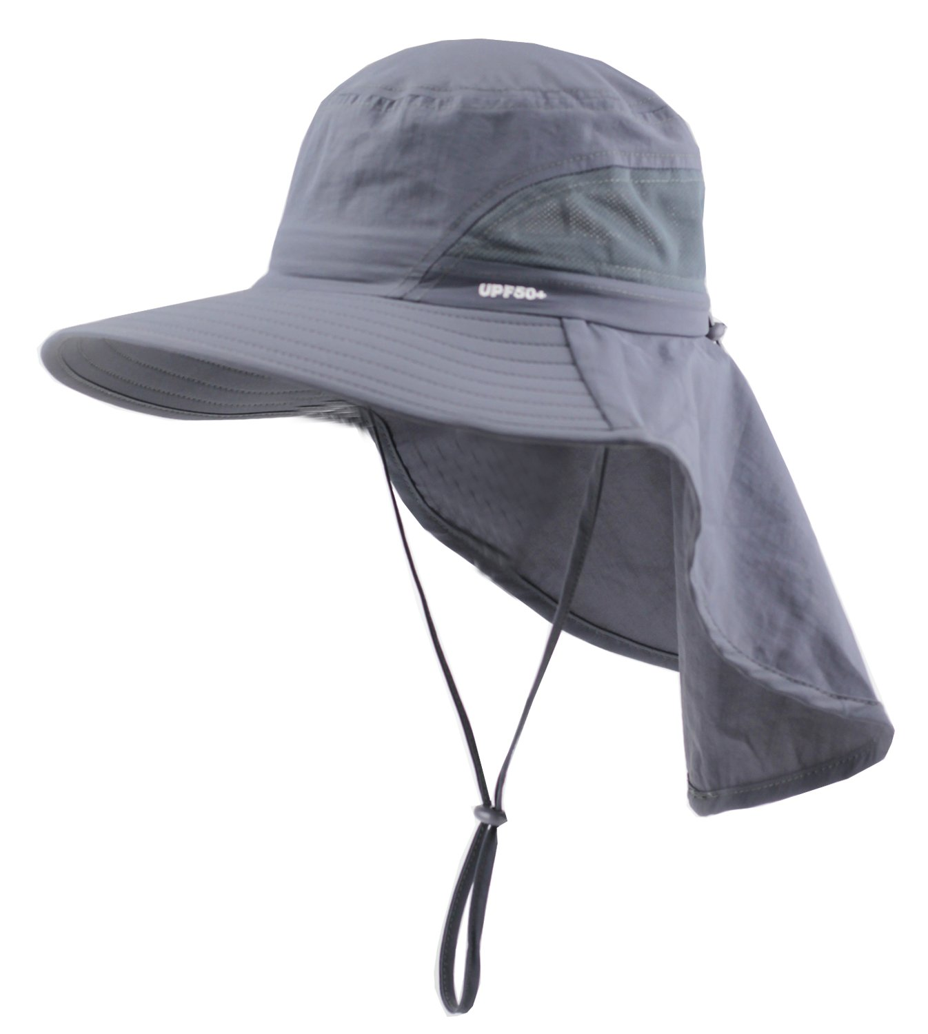 Child Sun Protection Cap Wide Brim Hat with Neck Flap UPF 50+ Kids (3T-7T)