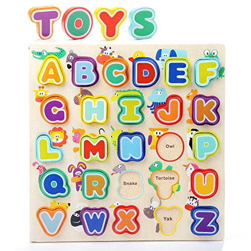 Toddler Alphabet Puzzle Board Wooden ABC Puzzles Educational Toys Baby Learning Letter (Baby Alphabet Letter)