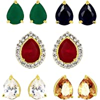 Zeneme Gold-plated Multi-color 5 In 1 Interchangeable Stud Earrings For Women/girls