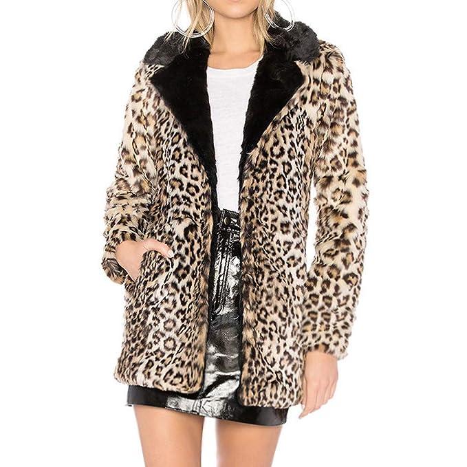 Abrigos Pelo Mujer Invierno Leopardo Estampado POLP Chaqueta Caliente Elegantes Piel sintética Talla Grande S-XXXL: Amazon.es: Ropa y accesorios