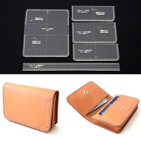 PANINA 5 piezas acrílico transparente tarjeta bolso cartera plantilla DIY cuero Craft