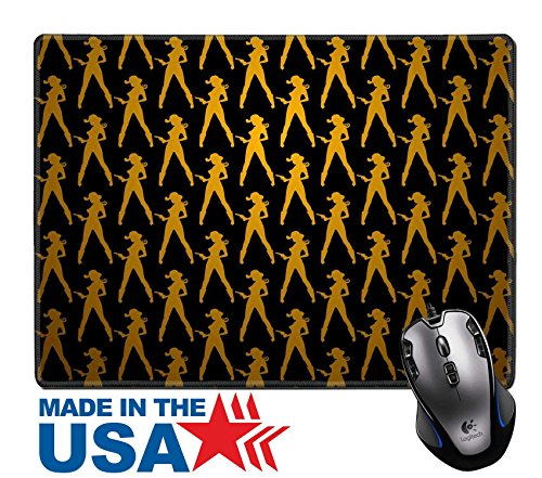 """MSD Natural Rubber Mouse Pad/Mat with Stitched Edges 9.8"""" x 7.9"""" IMAGE ID: 9044589 Seamless background pattern of stylized silhouette cowgirl with gun"""