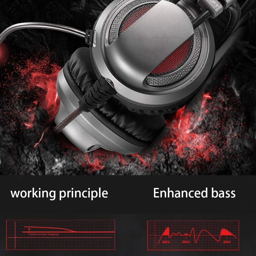 Over-Ear Soft Memory Earmuff HLKYB 50mm Drivers Stereo Surround Sound Gaming Headset with Noise Cancelling Mic Compatible with PC//PS4//Xbox One//Switch,Black