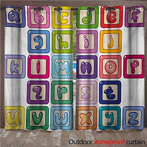 Educational Grommet Top Curtain Colorful Lower Case Alphabet Blocks Cute Kids Font ABC Cartoon Style TypographyW120 x L84 Multicolor