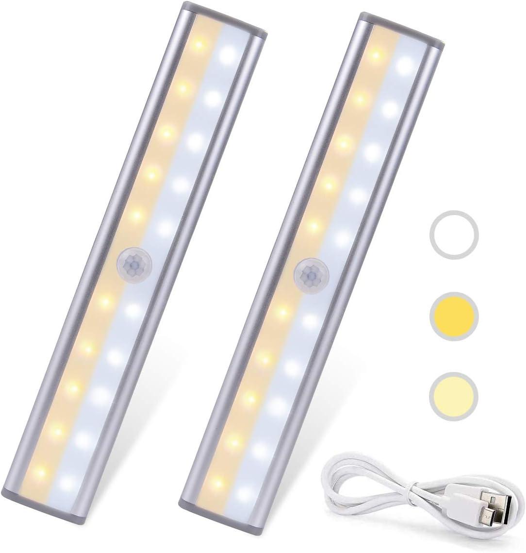 Lámpara de Guardarropa Lámpara de Gabinete de Pared 3 Colores 20 LED Luz Nocturna de 2 Filas Lámpara Recargable de USB Pega Magnética Lámpara Portátil Deportiva y Detectanda (2)