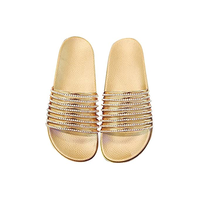 5b7f4aeba Image Unavailable. Image not available for. Color: Diamond Stripe Bling  Slippers Summer Women Slippers Beach Slides Flip Flops ...