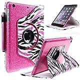 iPad Mini Case, Style4U [Everlasting Shine] Shiny Colorful Zebra 360 Rotating PU Leather Stand Bling Case Cover with Auto Sleep/Wake Function for iPad Mini 1/2/3 with 1 Style4U Stylus [Hot Pink]