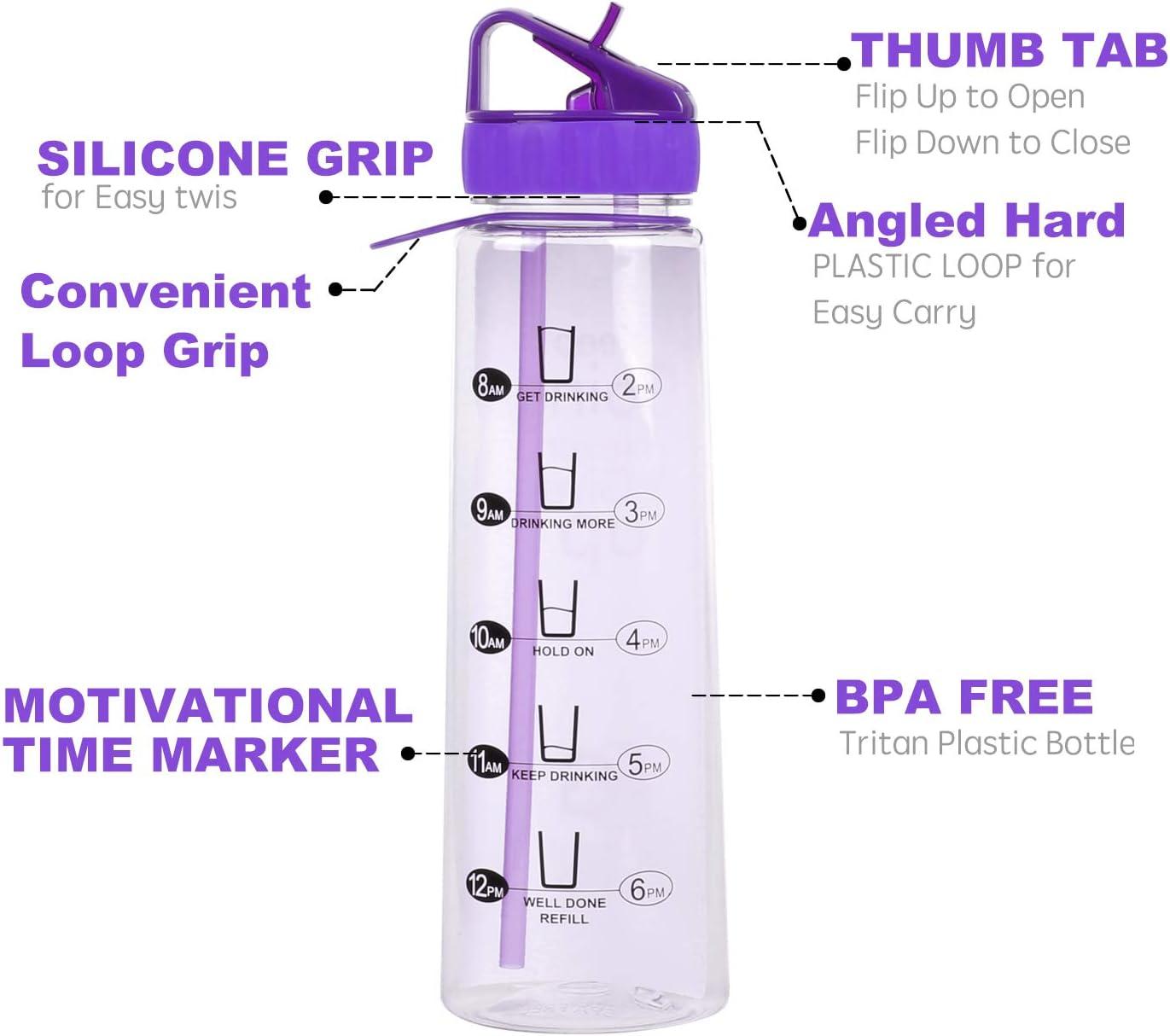 Ice Green Drink Pure Motivational Water Bottle Time Marker Sports Bottle 900ml