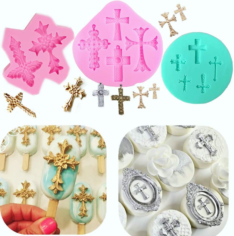 Set of 3 JeVenis Baptism Cake Decorations Cross Cake Mold Cross Mold Baptism Cake Toppers for Baptism Party Supplies Baby Shower Wedding Party