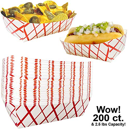 Heavy Duty Paper Food Trays Count 2.5 lb Capacity Parties Events, All Purpose Tray, Grease Tough Coated Basket for Festivals, Hot Dogs, Ice Cream, Nachos, Popcorn, Picnic Trays Sturdy (200)]()