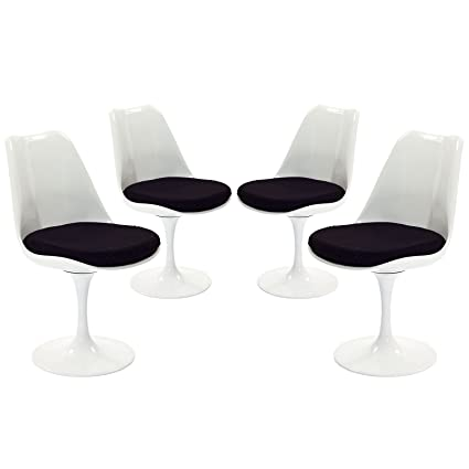Modway Lippa Mid-Century Modern Upholstered Fabric Swivel Four Kitchen and Dining Room Chairs in Black