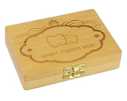 Leisial Caja Almacenamiento de Dientes de Leche Souvenir Caja Guardar Madera Diente Organizador de Caja para