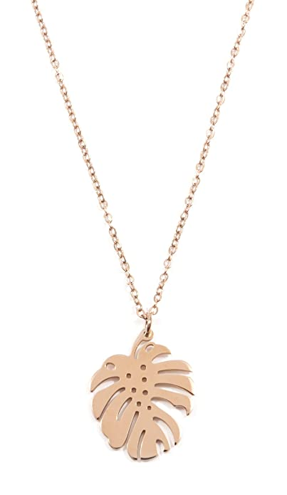 Happiness Boutique Monstera Necklace in Rose Gold | Delicate Necklace Tropical Leaf Pendant