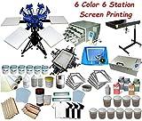 6 Color Full Set Screen Printing Kit 6 Color 6 Station Screen Printing Machine Screen & Platen Rotating Screen Printing Press