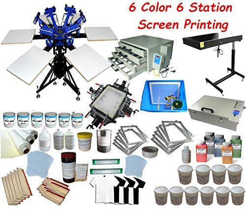 6 Color Full Set Screen Printing Kit 6 Color 6 Station Screen Printing Machine Screen & Platen Rotating Screen Printing Press by Screen Printing Kit