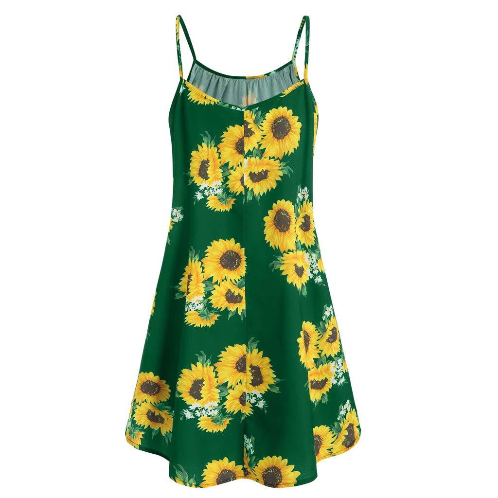 Lovor Womens Summer Sleeveless V Neck Shirts Pleated Tunic Shirt Draped A-Line Sunflower Print Flared Mini Tank Dress