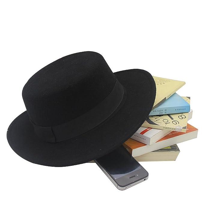 2441ac3b087581 NE Norboe Women's Brim Fedora Wool Flat Top Hat Church Derby Bowknot Cap at Amazon  Women's Clothing store: