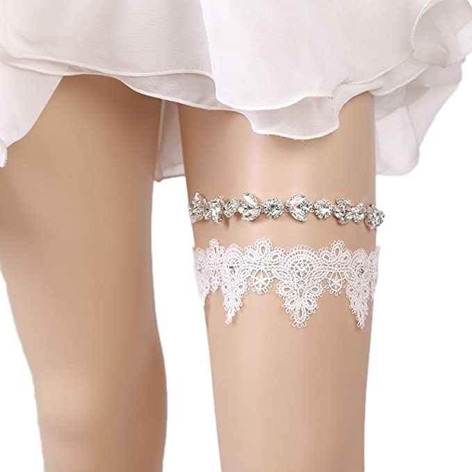 0c4136995f Bueer Garters for Bride Wedding Garter Set Bridal Garter (Bling Rhinestones  and Lace Garter)