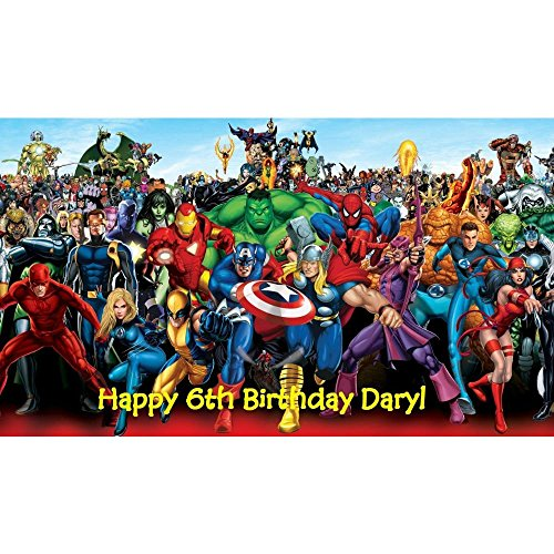 marvel superheroes edible Image birthday cake topper ()