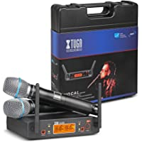XTUGA Portable UHF Microphone System with Carry case 2 Metal handhled MIC Box Cordless Wireless for Stage Church Wedding…