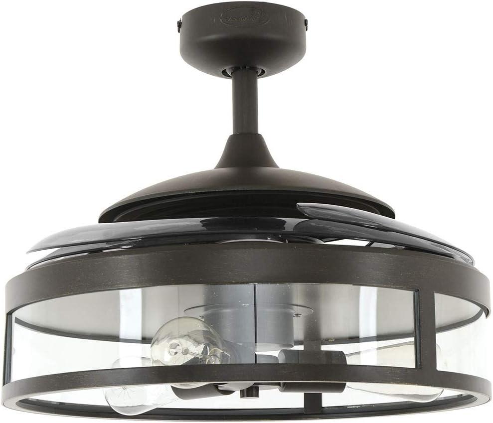 FANAWAY Classic Deckenventilator/Deckenbeleuchtung Metallgehäuse E27, 60 W, Schwarz (Matt), 122 cm Durchmesser Schwarz (Matt)