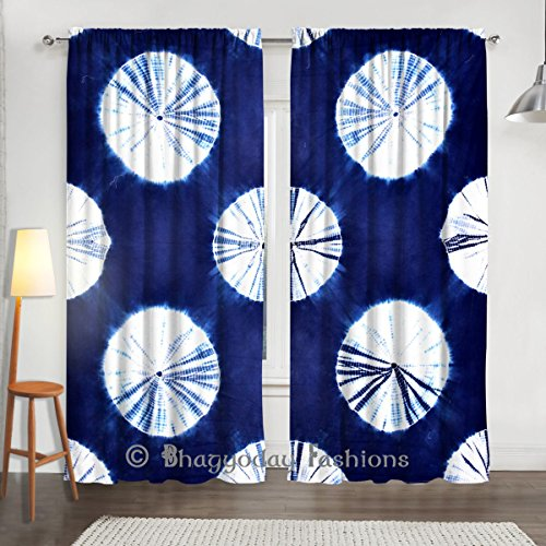 Indian Handmade Curtains Tie Dye Shibori 2 PC Waves Printed Curtain Set Valances Window Door Hanging 84 x 80 Inch By Bhagyoday Fashions