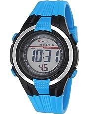 Ravel LCD Digital Water Resistant Sports Boy's Digital Watch with Black Dial Digital Display and Blue Plastic Strap RDB-16