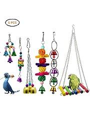 Mallalah Oiseau Parrot Jouet Mâcher Jeux 6 PCS Bell Hamac Balançoire Pendentif Accessoires pour Perruche Aras Perroquets Love Birds Pinsons