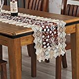 Lace table runner/Embroidery table cloth/Coffee table cloth napkins/Hollow bar towel/TV cabinet towel-B 40x120cm(16x47inch)