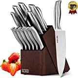 HOBO Knife Set, 14-Piece Kitchen Knife Set with Sharpener Wooden Block and Serrated Steak Knives, High Stainless Steel Knife