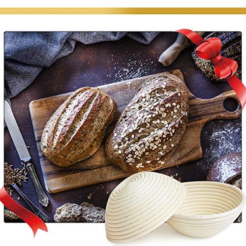 Prodigen 9+10 Inch Banneton Proofing Baskets for Sourdough Banneton Basket Set with Dough Bowl+Linen Cloth+ Stainless Steel Scraper+ Bread Lame +5 Blades -9,10 Inch