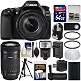 Canon EOS 80D Wi-Fi Digital SLR Camera & EF-S 18-135mm IS USM + 55-250mm IS Lens + 64GB Card + Case + Flash + Battery & Charger + Grip + Tripod Kit