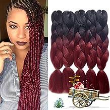 Urqueen Ombre Kanekalon Braiding Hair 5pcs/lot Synthetic Hair Extensions Two Tone Braiding Hair 100g/pcs Kanekalon Fiber For Twist Braiding Hair (Dark-Burgundy)