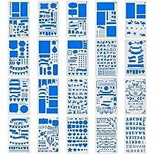 MORSLER Bullet Journal Stencil Plastic Planner Stencils Journal/Notebook/Diary/Scrapbook DIY Drawing Template Stencil, 20 Piece