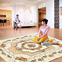 European Style Rugs Rose Fashionable Living Room Bedroom Carpet Sofa Table Bedside Area Rugs (4x510, Beige)