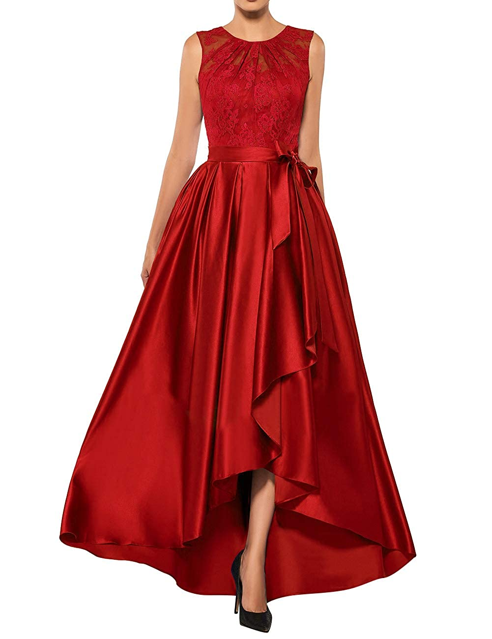 Red Mother The Bride Dresses Lace High Low Formal Evening Party Gown A Line Prom