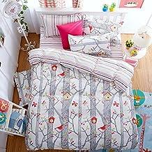 Singing Bird Grey Bedding Set Duvet Cover Pillow Sham Flat Sheet Teen Kids Boys Girls Bedding, Twin Size
