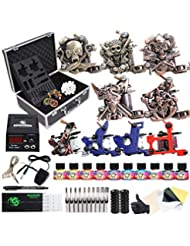 Dragonhawk Complete Tattoo Kit with Case, Beginner Traditional Coils Tattoo Machines, Power Supply Immortal Tattoo Inks,Tattoo Needles Foot Pedal Grips Tips