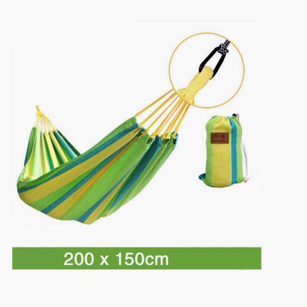 Hängematte Outdoor Hängematte Freizeitcamping Schaukel Hängematte Camping tragbare Hängematte Gras grüne Leinwand gestreifte Hängematte (200  150cm)